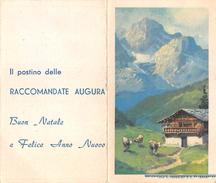 """05608 """"CALENDARIO ANNO 1960 - IL POSTINO DELLE RACCOMANDATE AUGURA BUON NATALE E FELICE ANNO NUOVO"""" ORIGINALE. - Calendari"""
