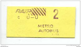 Ticket De Metro, Bus - Paris - Années 80 - 2ème Classe - Billet RATP - Métro