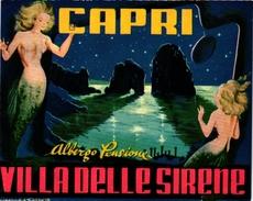 1 Hotel Label Etiquette  Mythologie SIRENE Mermaid Zeemeermin Meerjungfrau  Villa Delle Sirene CAPRI - Etiquettes D'hotels