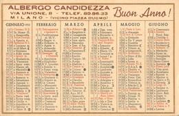 """05609 """"CALENDARIO ANNO 1953 - ALBERGO CANDIDEZZA - VIA UNIONE, 8 - MILANO - BUON ANNO"""" ORIGINALE. - Calendari"""