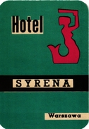 1 Hotel Label Etiquette  Mythologie SIRENE Mermaid Zeemeermin Meerjungfrau  Hotel Syrena Warszawa - Etiquettes D'hotels
