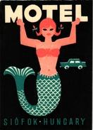 2 Hotel Label Etiquette Mythologie SIRENE Mermaid Zeemeermin Meerjungfrau Motel Siofok Hungary Playafels Hotel Barcelona - Etiquettes D'hotels