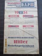 HITLER PRESIDENT -1934 CALENDAR From GOEBBELS National Socialist Propaganda - D.A.P. Berlin- Complete 34 X 21 Cm - Rare - Big : 1921-40