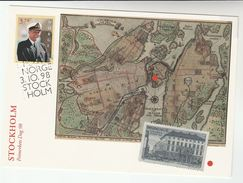 1998 SWEDEN/ NORWAY POST OFFICE At STOCKHOLM  PHILATELIC EXHIBITION EVENT COVER (card) Illus HISTORIC STOCKHOLM MAP - Sweden
