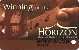Horizon Casino - Vicksburg, MS - Slot Card - (I) Upper Right Above Mag Stripe On Reverse - Casino Cards