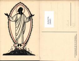 536425,Künstler AK G. Januszewski Salvator Verlag Jesus Scherenschnitt Silhouette - Scherenschnitt - Silhouette