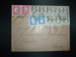 LETTRE Pour La SUISSE TP MARIANNE DE DULAC 1F50 X2 + 10c X2 + TP CHAINES BRISEES 10c X8 OBL.7-11-45 EVIAN LES BAINS (74) - 1944-45 Marianne Of Dulac