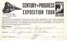 U.S.   CENTURY  OF  PROGRESS  1933  (o)  AD  CARD FOR NEWS  BEE, TOLEDO, OHIO  TRAIN - Universal Expositions