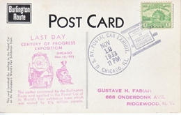 U.S.   CENTURY  OF  PROGRESS  1933  (o)  POSTAL  TRAIN  CAR  EXPO. Cd. - Universal Expositions