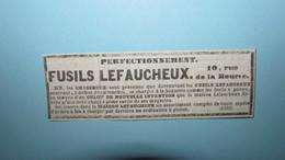 FUSIL LEFAUCHEUX - PERFECTIONNEMENT - COUPURE DE PRESSE / ANNONCE DE 1842. - Vieux Papiers