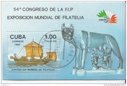 2809 Cuba 1985 Roma Expo Italia ´85 Nave Romana Lupa Romolo E Remo Sheet Perf. - Blocchi & Foglietti