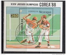 1692 Nicaragua 1988 Seul XXIV Jeux Olympiques Baseball  Sheet Nuovo Preobliterato Olimpiadi - Zomer 1988: Seoel