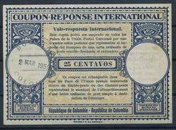 COLOMBIA / COLOMBIE 1950, London Type XIVo 25 CENTAVOS Intern. Reply Coupon Reponse IAS IRC Antwortschein  O BOGOTA - Kolumbien