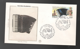 FDC Italia 1989 GOLD Filagrano Industria Fisarmonicva Castelfidardo Da 450 Lire - F.D.C.