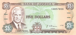 JAMAIQUE   5 Dollars   1/7/1991   Sign.10   P. 70d   UNC - Jamaica