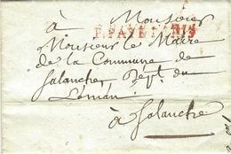 1811- Lettre En P.PAYE PARIS  Pour Salanche  , Département Du Léman - Marcofilia (sobres)