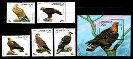 Azerbaijan 1994 Aserbaidschan Mi 172-176 + Block 9(177) Birds Of Prey / Greifvögel **/MNH - Arends & Roofvogels