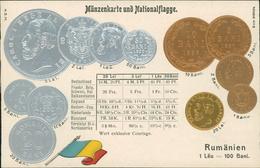 AK Münzen Coins Monnaie, Rumänien Romania, Geprägt Embossed Gaufrée, Um 1908 (1762) - Monnaies (représentations)