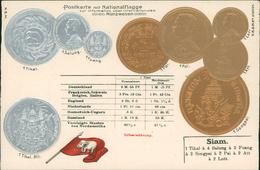 AK Münzen Coins Monnaie, Siam Thailand, Geprägt Embossed Gaufrée, Um 1908 (1766) - Coins (pictures)