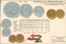 AK Münzen Coins Monnaie, Ungarn Hungary, Geprägt Embossed Gaufrée, Um 1908 (1770) - Monnaies (représentations)