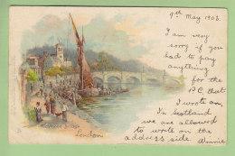 London : Richmond Bridge.  Dos Simple. 2 Scans. Edition Raphaël Tuck N°28 - London