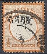 Germania  - 1872 Aquila Con Piccolo Scudo ½gr Rosso Arancio # Michel 3 - Scott 3 - Unificato 3 - Usato - Germania