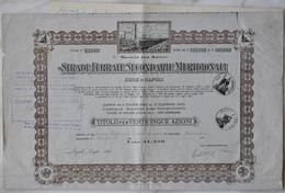 """Titolo 25 Azioni """"Strade Ferrate Secondarie Meridionali"""" 1947 - Ferrovie & Tranvie"""