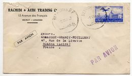 Liban--lettre De Beyrouth Pour Roanne (France)--tp Seul Sur Lettre--personnalisée Rachidi & Audi Trading Co-cachet - Liban
