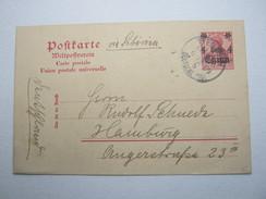 1909 , 10 Pfg. Ganzsache Von Tientsin Nach Hamburg - Offices: China