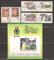 Vietnam 1984 Mi# 1460-1465, Block 29 (*) Mint No Gum - 3 Pairs + S/S - Vietnamese Trade Union Movement, 55th Anniv. - Vietnam