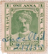 INDIA WANKANER PRINCELY STATE 1-ANNA REVENUE STAMP 1935 GOOD/USED - Indien