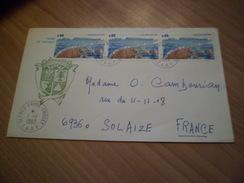 """TAAF Lettre En-tête Blason P. Aérienne N°73 Bande De 3 Île Des Apôtres Cachet""""ALFRED- FAURE-CROZET-TAAF-"""" Le 1/1/1983 TB"""