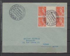 Reims -  Salle De Reddition - 60 C Orange Iris  En Bloc De 4 Sur Lettre  - 7/07/1945 - Liberation