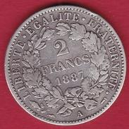 France 2 Francs Argent Cérès 1887 A - I. 2 Francs