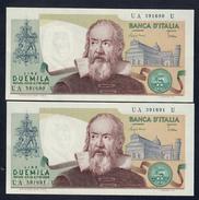 2000 LIRE GALILEO GALILEI CIAMPI STEVANI 1983 Q.FDS 2 Es. Consecutivi LOTTO 1592 - [ 2] 1946-… : Républic
