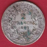 France 2 Francs Argent Cérès 1887 A - France