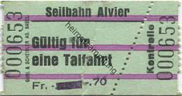 Schweiz - Seilbahn Alvier - Fahrschein - Bahn