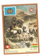 1990 Bolivia Links With Switzerland Souvenir Sheet Horses Flags MNH  LIMITED EDITION Scott $40 - Bolivia
