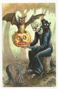 Halloween, Skeleton, Black Cat, Pumpkin And Bat, Unused Postcard - Zonder Classificatie