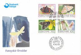 Faroe Islands FDC 4-10-1993 BUTTERFLIES Complete Set Of 4 With Cachet - Butterflies