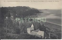 CPA France 22 Côtes D'Armor - Plestin-les-Grèves La Plage De Saint-Efflam Et Le Château De Toulinet - Plestin-les-Greves