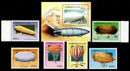Azerbaijan 1995 Aserbaidschan Mi 237-242 + Block 14(243) Balloons And Airships / Ballons Und Luftschiffe **/MNH - Montgolfières