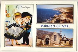 Carte En Bretagne - Poullan Sur Mer - Robe Brodée Fils Dorés - Brodées