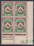 Algérie N° 263 XX Armoiries : 4 F. Sépia Et Vert, En Bloc De 4 Coin Daté Du 16 . 11 . 48 ; 3 Pts Blancs Sans Char., TB - Algérie (1924-1962)