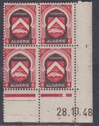 Algérie N° 270 XX Armoiries : 10 F.rouge C. Et Sépia, En Bloc De 4 Coin Daté Du 28 .10. 48 ; 1 Pt Blanc Sans Char., TB - Algérie (1924-1962)
