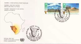 NATIONS UNIES FDC DU 10 MAI 1991 VIENNE NAMIBIE NAISSANCE D UNE NATION - Centre International De Vienne