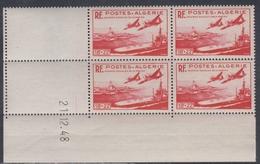 Algérie N° 274 XX Oeuvres Sociales De La Marine : Rouge, En Bloc De 4 Coin Daté Du 21.12. 48 ; 2 Traits Sans Char., TB - Unused Stamps