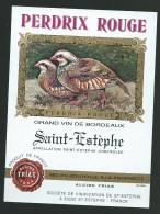 Etiquette   Vin   Perdrix Rouge  Saint Estèphe  Alcide Trias - Bordeaux