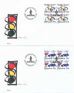 Denmark 1990;  Prevent Bicycle Thefts And Stop Drunk Driving.  Set Of 2 In Block Of 4 On FDC - FDC