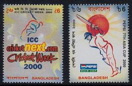 A0982 BANGLADESH 2000, SG 757 & 766, Cricket Week, Pepsi Cricket Cup,  MNH - Bangladesh
